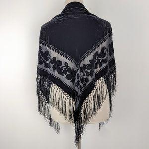 Accessories - Floral Black Fringe Triangle Shawl Velvet Velour